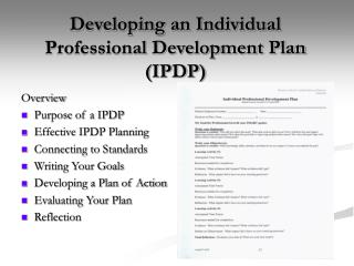 Developing an Individual Professional Development Plan IPDP