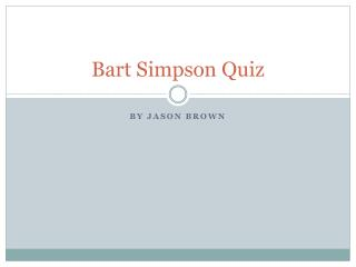 Bart Simpson Quiz