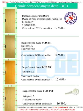 Cenník bezpečnostných dverí  BCD
