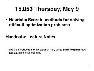15.053 Thursday, May 9