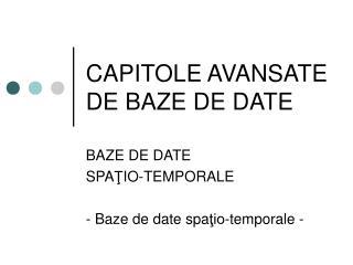 CAPITOLE AVANSATE DE BAZE DE DATE
