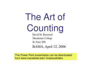 The Art of Counting