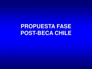 PROPUESTA FASE  POST-BECA CHILE