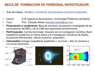 BECA DE  FORMACION DE PERSONAL INVESTIGADOR