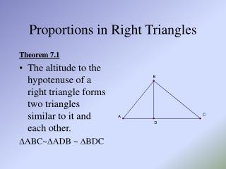 Proportions in Right Triangles