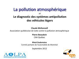 La pollution  atmosphérique et  Le diagnostic des  systèmes  antipollution  des  véhicules légers