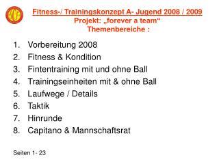 """Fitness-/ Trainingskonzept A- Jugend 2008 / 2009   Projekt: """"forever a team""""   Themenbereiche :"""