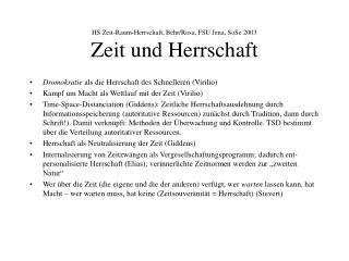 HS Zeit-Raum-Herrschaft, Behr/Rosa, FSU Jena, SoSe 2003 Zeit und Herrschaft