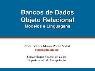 Bancos de Dados  Objeto Relacional Modelos e Linguagens