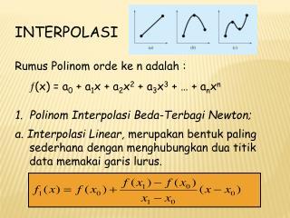 INTERPOLASI Rumus Polinom orde ke n adalah :