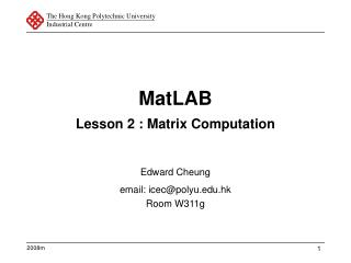 MatLAB Lesson 2 : Matrix Computation