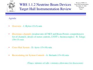 WBS 1.1.2 Neutrino Beam Devices Target Hall Instrumentation Review