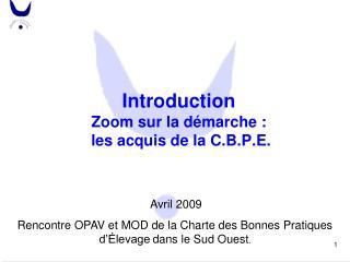 Introduction Zoom sur la démarche :  les acquis de la C.B.P.E.