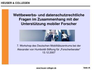 7. Workshop des Deutschen Mobilitätszentrums bei der
