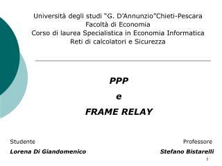 """Università degli studi """"G. D'Annunzio""""Chieti-Pescara Facoltà di Economia"""
