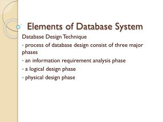 Elements of Database System