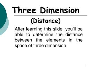 Three Dimension (Distance)