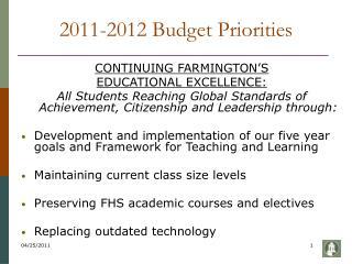 2011-2012 Budget Priorities