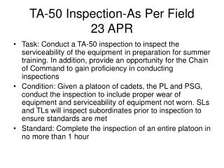 TA-50 Inspection-As Per Field  23 APR