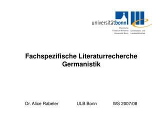 Fachspezifische Literaturrecherche Germanistik