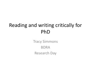 Reading and writing critically for PhD