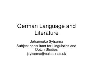 German Language and Literature