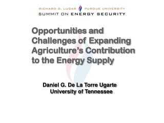 Opportunities and Challenges of Expanding Agriculture's Contribution to the Energy Supply