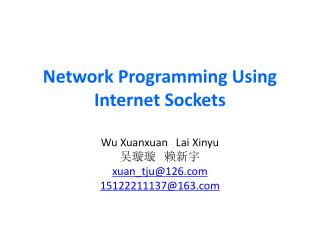 Network Programming Using Internet Sockets