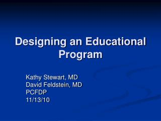 Designing an Educational Program