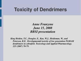 Toxicity of Dendrimers