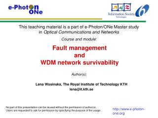 Fault management and WDM network survivability