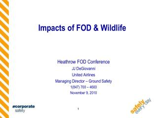 Impacts of FOD  Wildlife