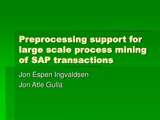 Preprocessing support for large scale process mining of SAP transactions