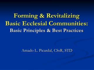 Forming & Revitalizing   Basic Ecclesial Communities: Basic Principles & Best Practices