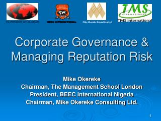 Corporate Governance & Managing Reputation Risk