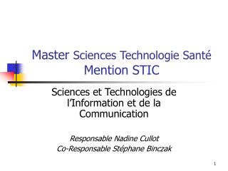Master  Sciences Technologie Sant� Mention STIC