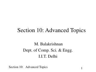 Section 10: Advanced Topics