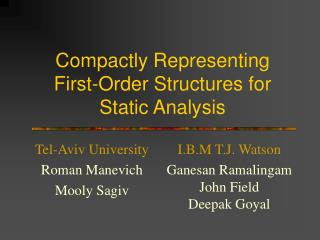 Compactly Representing  First-Order Structures for  Static Analysis