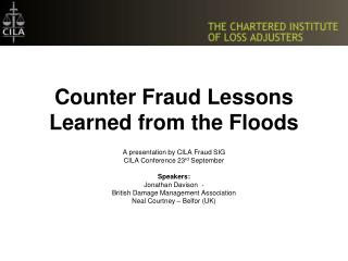 Counter Fraud Lessons Learned from the Floods