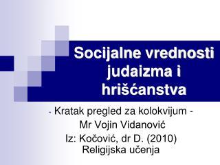 Socijalne vrednosti judaizma i hri šć anstva