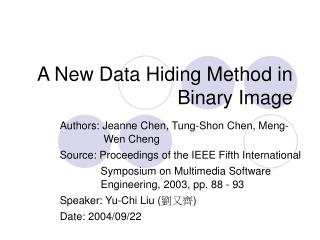 A New Data Hiding Method in Binary Image