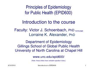 Principles of Epidemiology  for Public Health (EPID600)