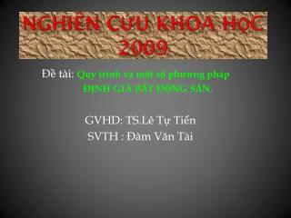 Nghiên cứu khoa học  2009