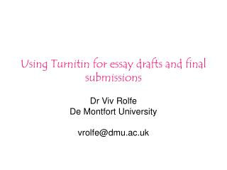 Using Turnitin for essay drafts and final submissions