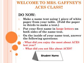 WELCOME TO MRS. GAFFNEY'S ACES CLASS!!