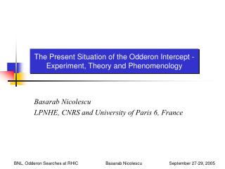 The Present Situation of the Odderon Intercept - Experiment, Theory and Phenomenology