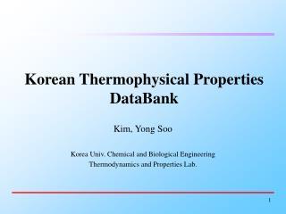 Korean Thermophysical Properties DataBank