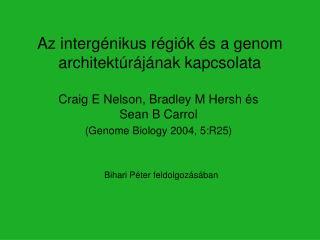 Az interg�nikus r�gi�k �s a genom architekt�r�j�nak kapcsolata