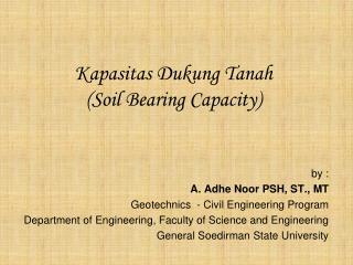 Kapasitas Dukung Tanah ( Soil Bearing Capacity)
