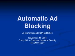 Automatic Ad Blocking